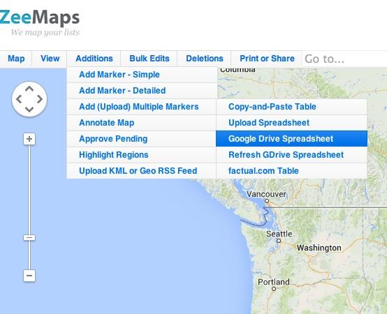 Menu item to add Google Drive spreadsheet