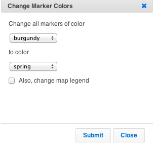 Change all markers from one color to another