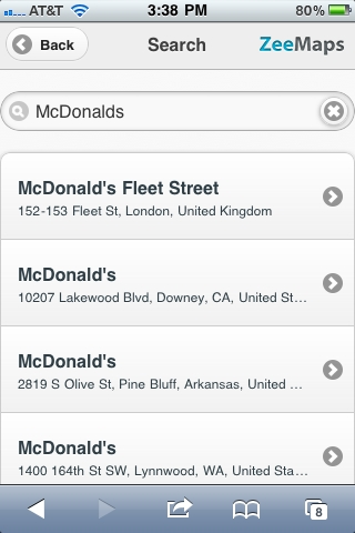 First Search attempt for McDonalds