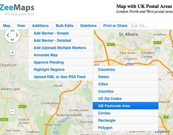 Add GB Postcode Area
