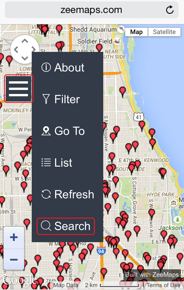 Search menu in Mobile ZeeMaps for Driving Directions
