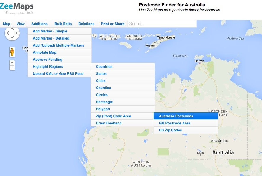 Select Additions -> Highlight Regions -> Zip (Post) Codes -> Australia Postcodes