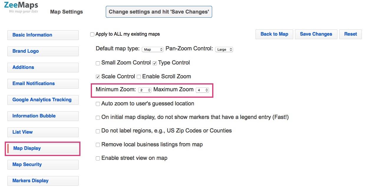 Change settings to set minimum and maximum zoom levels on map