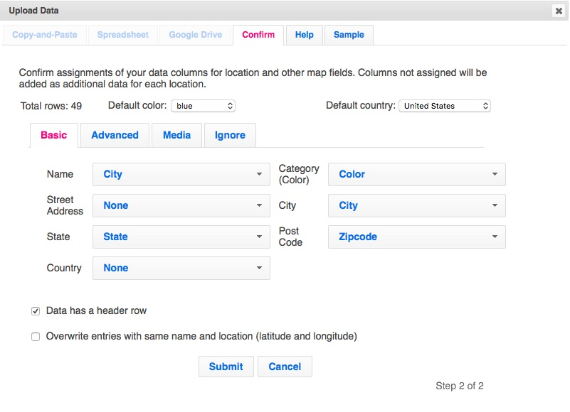 Confirm column mappings for Las Vegas zip codes upload