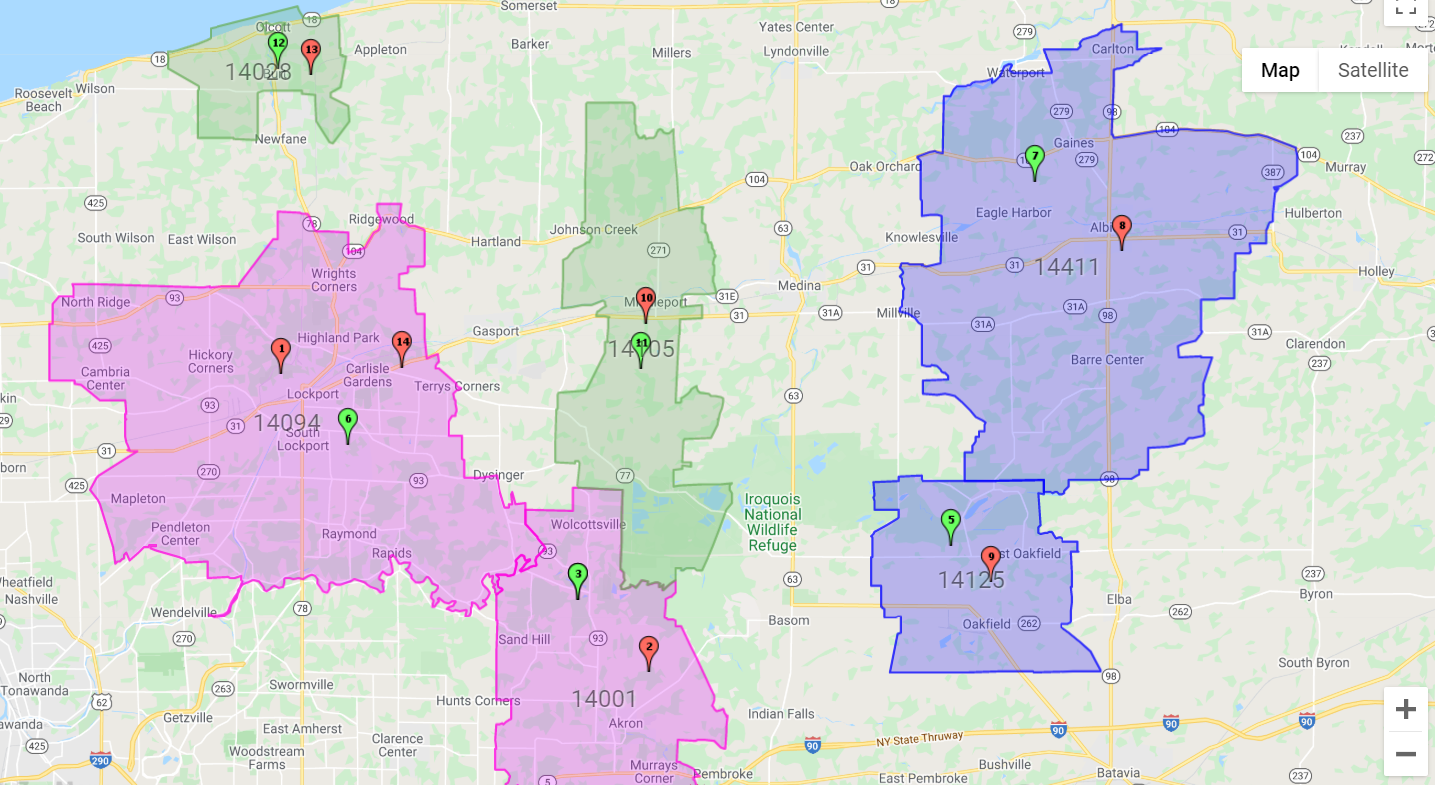 As an example, we are going to work with a look up sales territory map that shows sales zip codes for three salespersons of a company. Each sales person covers roughly 2-3 zip codes.