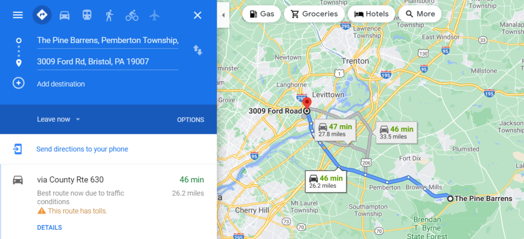 Measure Distance with Google Maps Routing