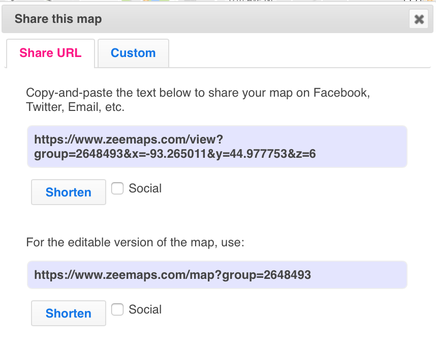Create a map then get your map URL in ZeeMaps