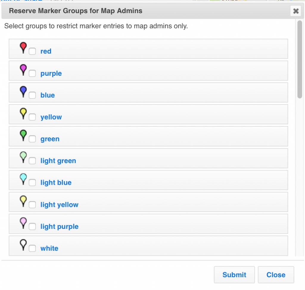 Reserve marker groups for ZeeMaps admins